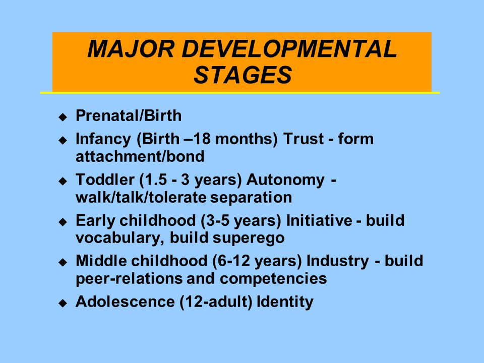 MAJOR DEVELOPMENTAL STAGES u Prenatal/Birth u Infancy (Birth –18 months) Trust - form attachment/bond u Toddler (1.5 - 3 years) Autonomy - walk/talk/t