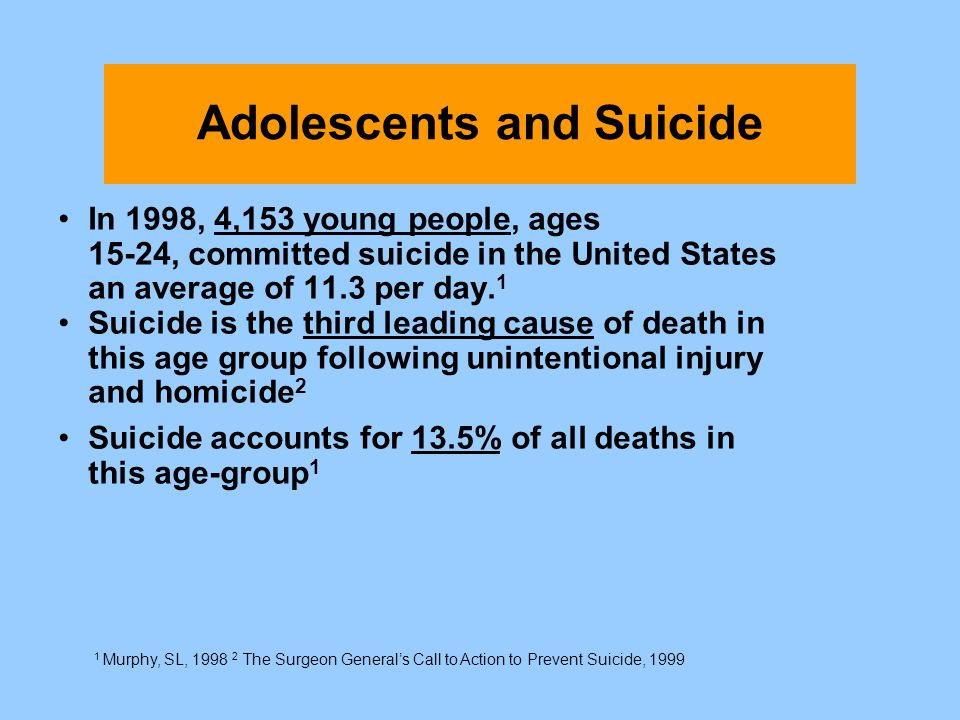Adolescents and Suicide In 1998, 4,153 young people, ages 15-24, committed suicide in the United States an average of 11.3 per day. 1 Suicide is the t