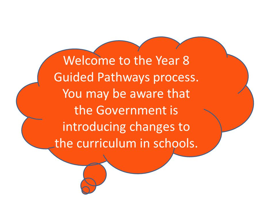 Welcome to the Year 8 Guided Pathways process.