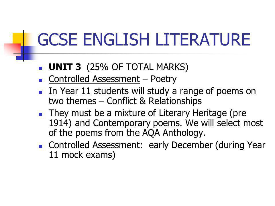 GCSE ENGLISH LITERATURE UNIT 3 (25% OF TOTAL MARKS) Controlled Assessment – Poetry In Year 11 students will study a range of poems on two themes – Con