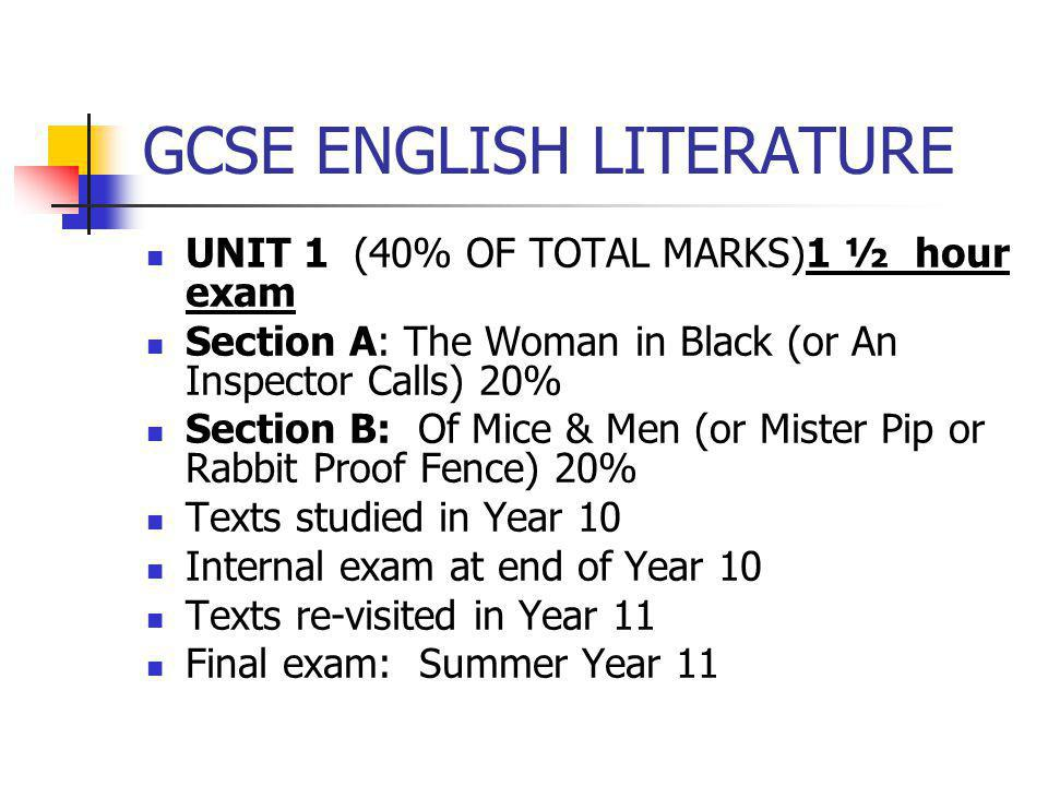 GCSE ENGLISH LITERATURE UNIT 1 (40% OF TOTAL MARKS)1 ½ hour exam Section A: The Woman in Black (or An Inspector Calls) 20% Section B: Of Mice & Men (o