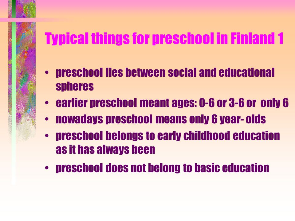 Authorities behind Preschool curriculums National Social Administration National School Administration Center for Social and Health Studies National B