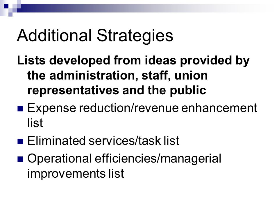 Additional Strategies Lists developed from ideas provided by the administration, staff, union representatives and the public Expense reduction/revenue enhancement list Eliminated services/task list Operational efficiencies/managerial improvements list