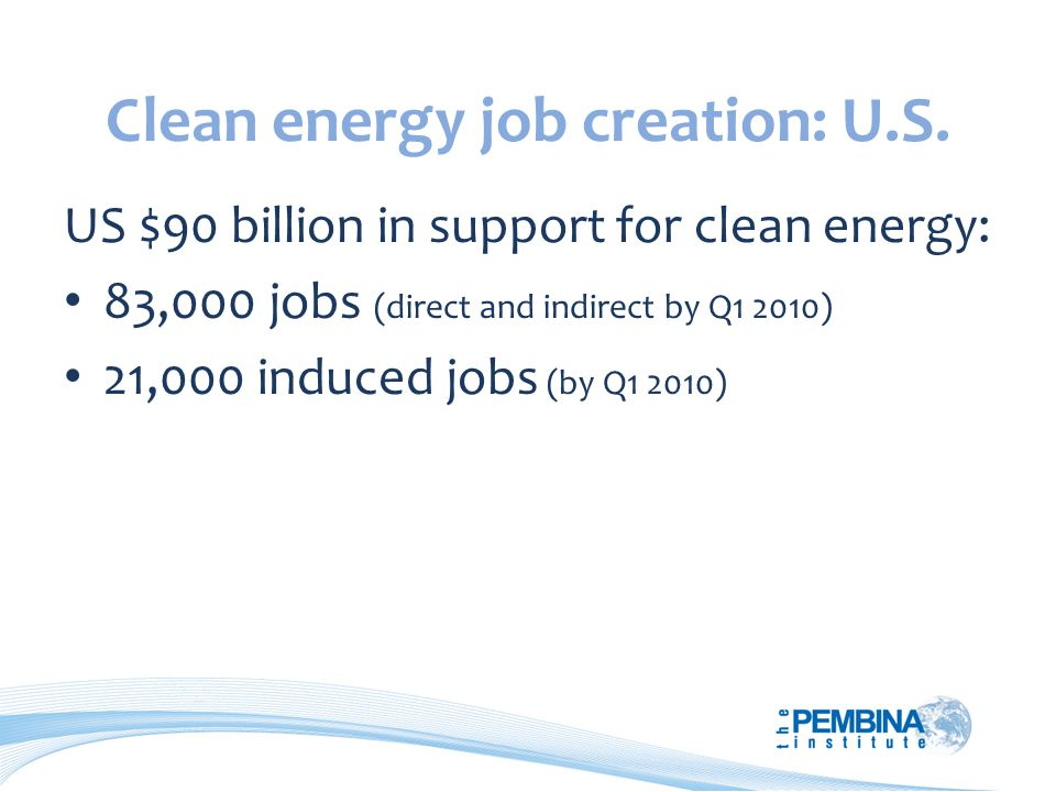 Clean energy job creation: U.S.