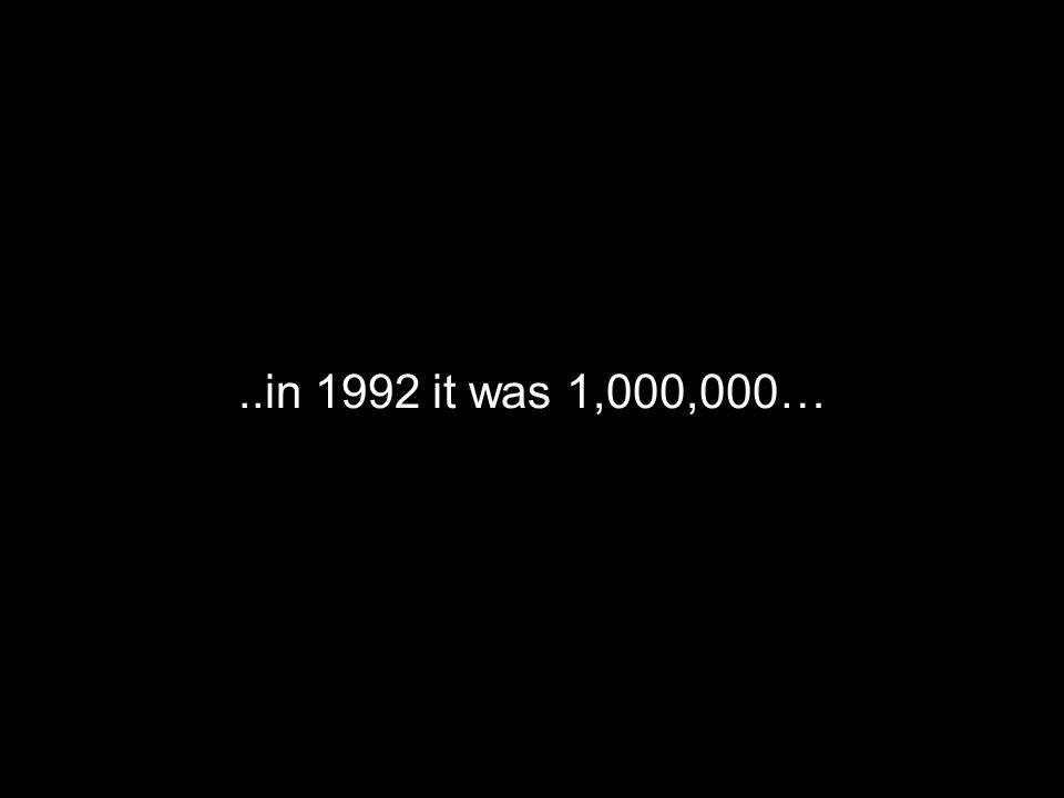 ..in 1992 it was 1,000,000…