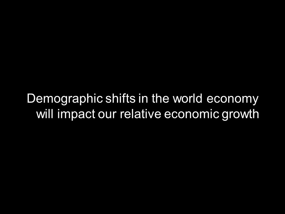 Demographic shifts in the world economy will impact our relative economic growth