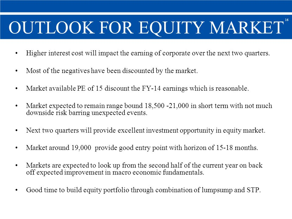 OUTLOOK FOR EQUITY MARKET Higher interest cost will impact the earning of corporate over the next two quarters.