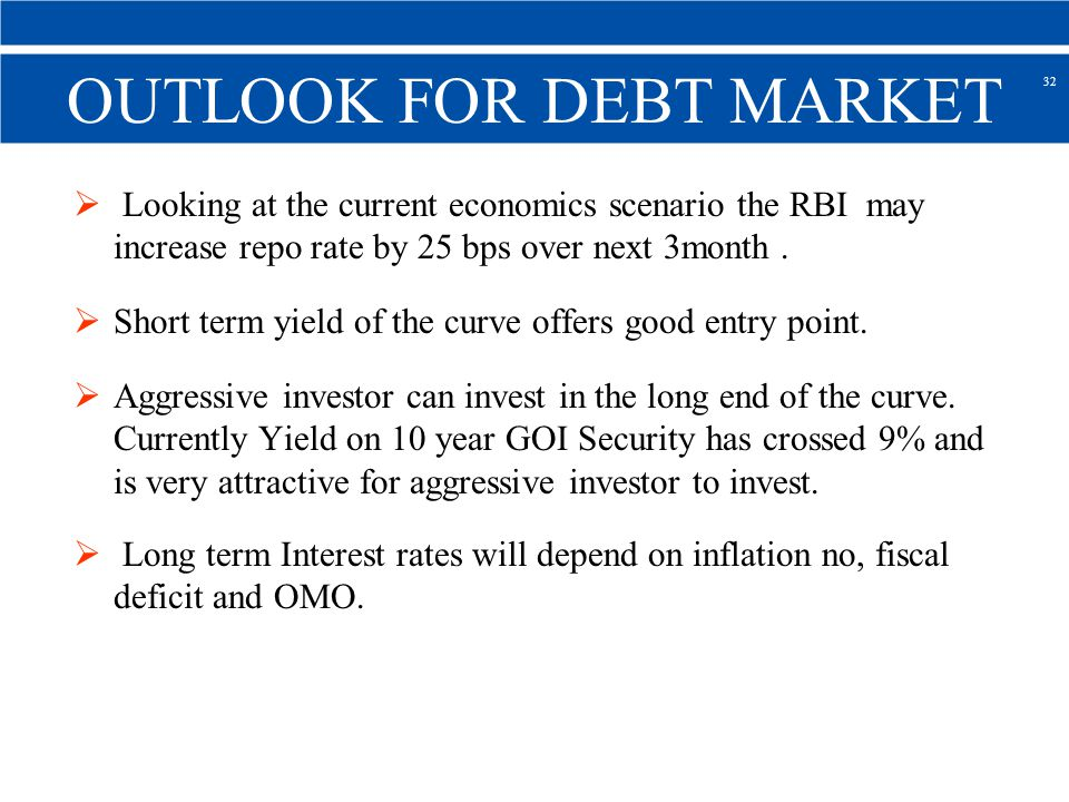 OUTLOOK FOR DEBT MARKET Looking at the current economics scenario the RBI may increase repo rate by 25 bps over next 3month.