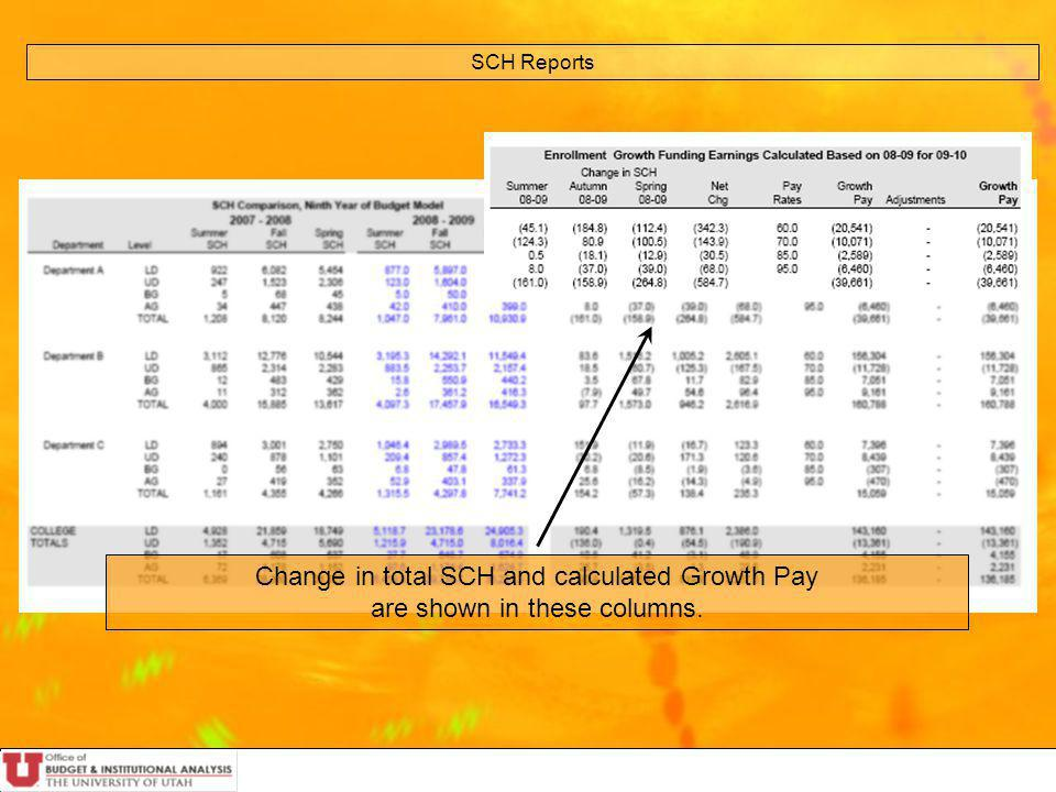 SCH Reports Change in total SCH and calculated Growth Pay are shown in these columns.