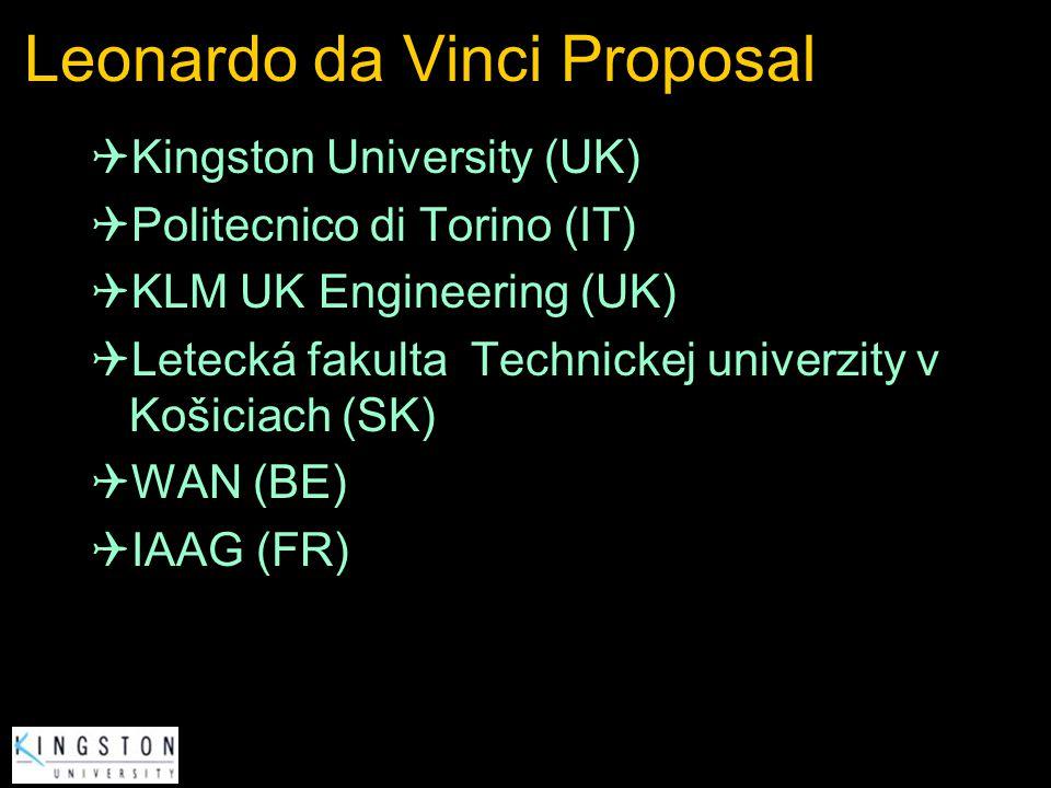 Leonardo da Vinci Proposal Kingston University (UK) Politecnico di Torino (IT) KLM UK Engineering (UK) Letecká fakulta Technickej univerzity v Košicia