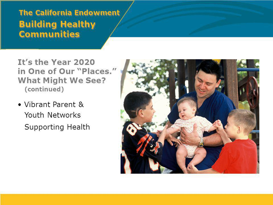 Its the Year 2020 in One of Our Places. What Might We See? (continued) Vibrant Parent & Youth Networks Supporting Health The California Endowment Buil