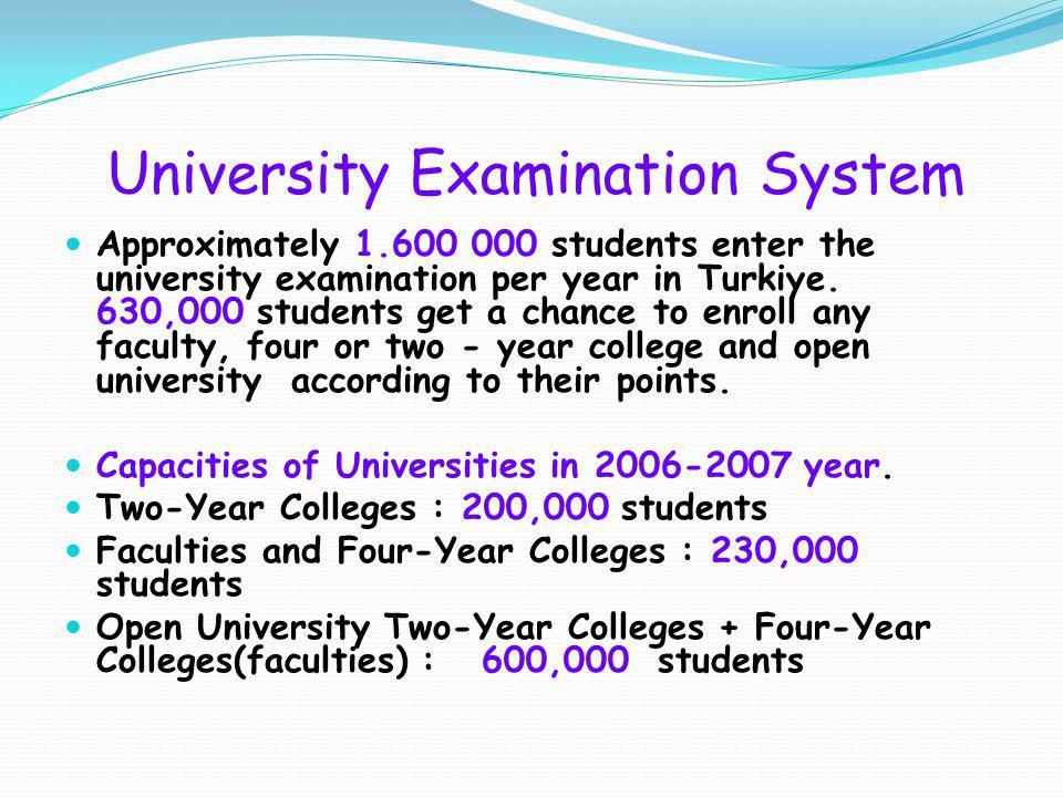 University Examination System Approximately 1.600 000 students enter the university examination per year in Turkiye.