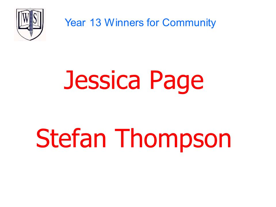 Jessica Page Stefan Thompson Year 13 Winners for Community