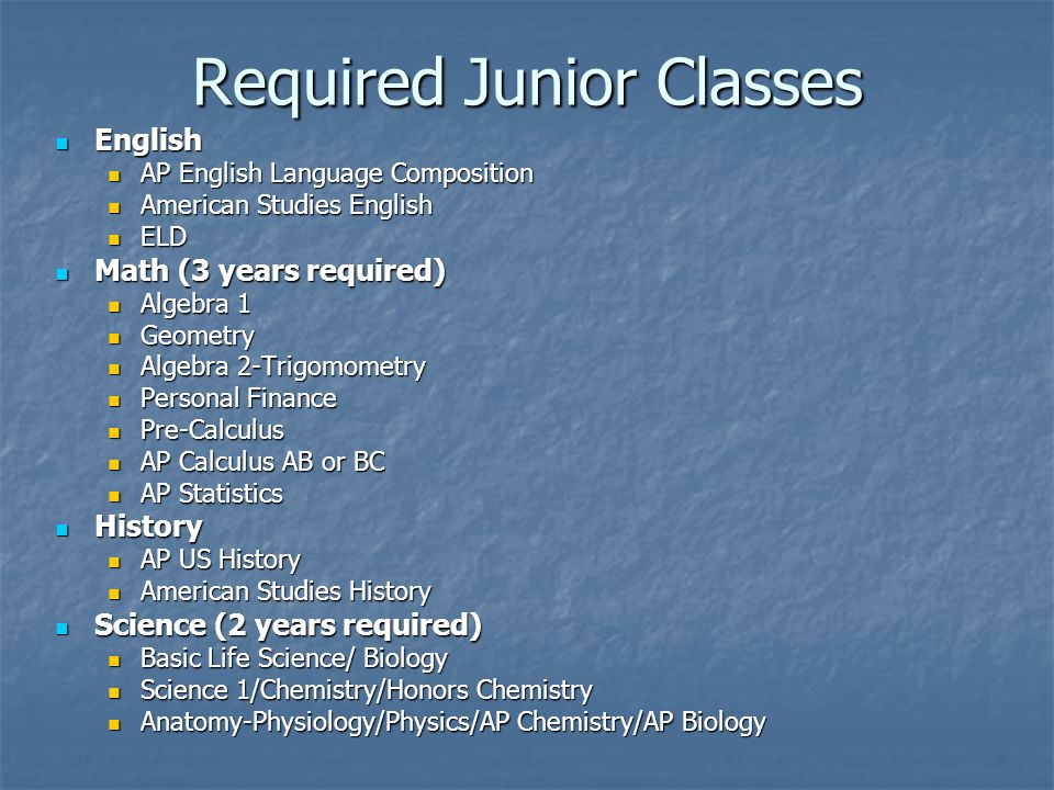 Required Junior Classes English English AP English Language Composition AP English Language Composition American Studies English American Studies English ELD ELD Math (3 years required) Math (3 years required) Algebra 1 Algebra 1 Geometry Geometry Algebra 2-Trigomometry Algebra 2-Trigomometry Personal Finance Personal Finance Pre-Calculus Pre-Calculus AP Calculus AB or BC AP Calculus AB or BC AP Statistics AP Statistics History History AP US History AP US History American Studies History American Studies History Science (2 years required) Science (2 years required) Basic Life Science/ Biology Basic Life Science/ Biology Science 1/Chemistry/Honors Chemistry Science 1/Chemistry/Honors Chemistry Anatomy-Physiology/Physics/AP Chemistry/AP Biology Anatomy-Physiology/Physics/AP Chemistry/AP Biology