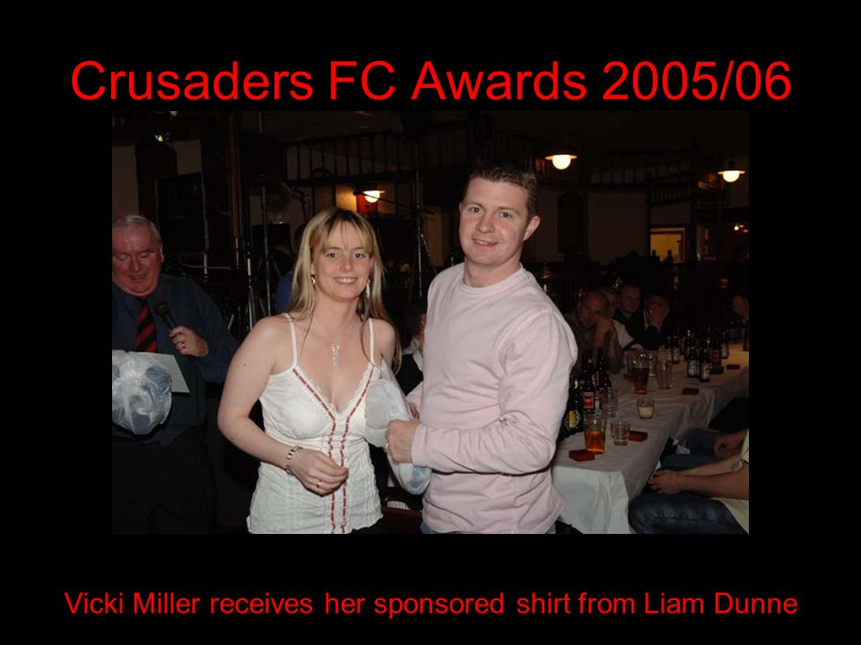 Crusaders FC Awards 2005/06 Vicki Miller receives her sponsored shirt from Liam Dunne