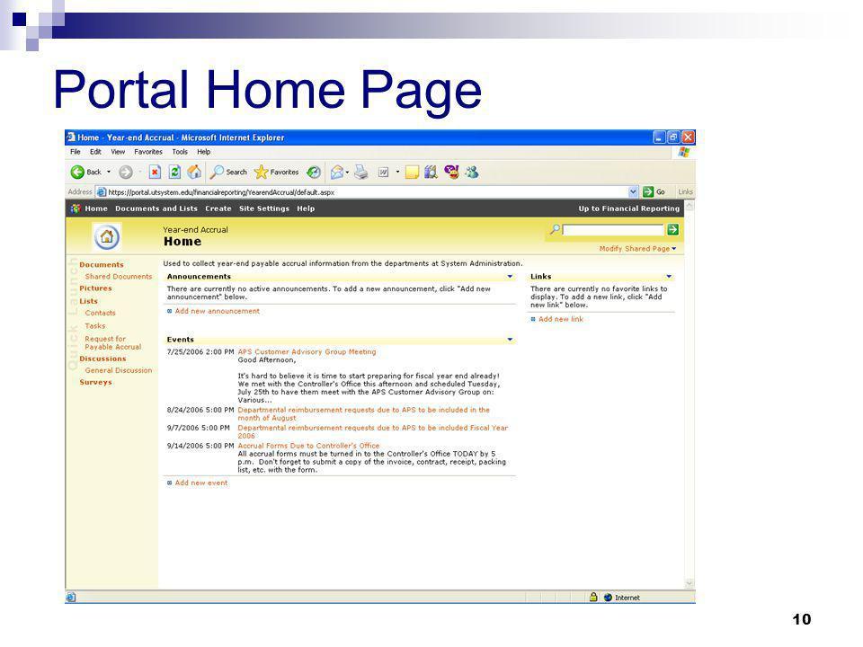10 Portal Home Page