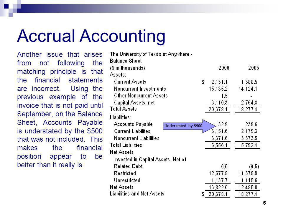 5 Accrual Accounting Another issue that arises from not following the matching principle is that the financial statements are incorrect.