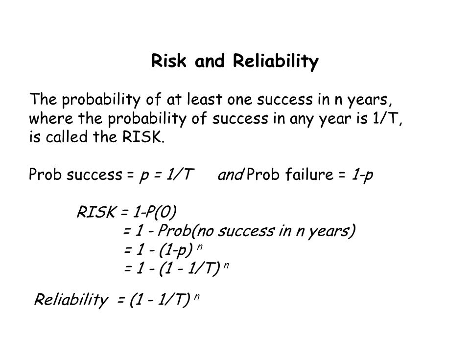 The probability of at least one success in n years, where the probability of success in any year is 1/T, is called the RISK. Prob success = p = 1/T an