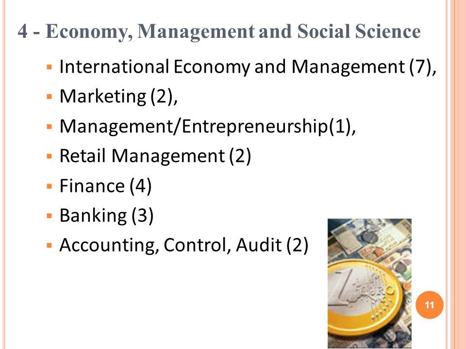International Economy and Management (7), Marketing (2), Management/Entrepreneurship(1), Retail Management (2) Finance (4) Banking (3) Accounting, Control, Audit (2) 4 - Economy, Management and Social Science 11