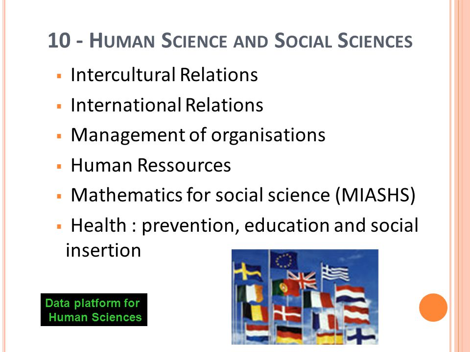 19 10 - H UMAN S CIENCE AND S OCIAL S CIENCES Intercultural Relations International Relations Management of organisations Human Ressources Mathematics