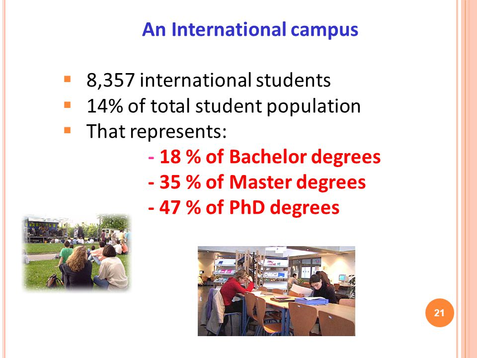 An International campus 8,357 international students 14% of total student population That represents: - 18 % of Bachelor degrees - 35 % of Master degrees - 47 % of PhD degrees 21