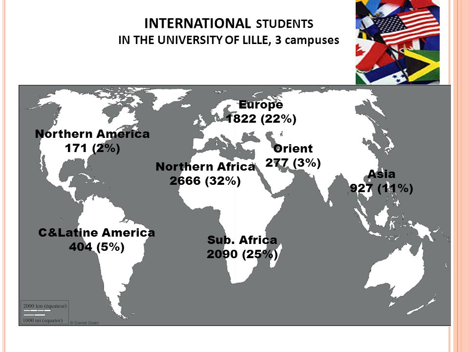 22 INTERNATIONAL STUDENTS IN THE UNIVERSITY OF LILLE, 3 campuses Europe 1822 (22%) Asia 927 (11%) Sub. Africa 2090 (25%) Northern Africa 2666 (32%) No