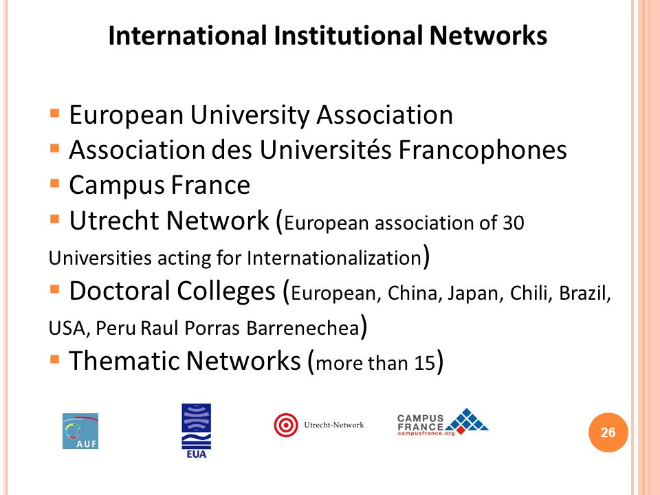 International Institutional Networks European University Association Association des Universités Francophones Campus France Utrecht Network ( European