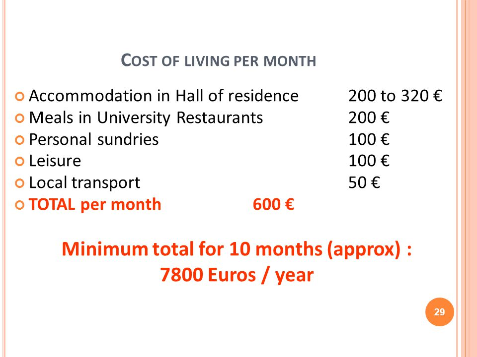 C OST OF LIVING PER MONTH Accommodation in Hall of residence 200 to 320 Meals in University Restaurants200 Personal sundries100 Leisure100 Local trans