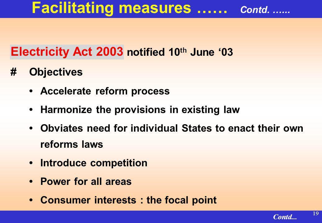 18 Facilitating measures …… Contd. …...
