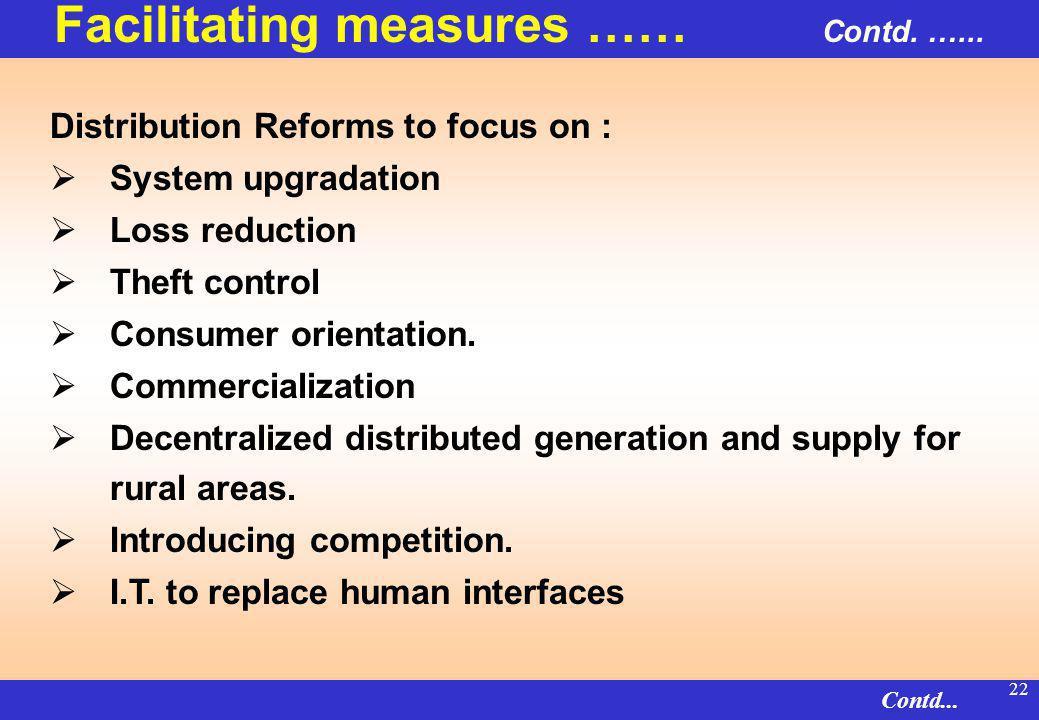 21 Distribution Reforms – Three Dimensional Challenge Governance Technology Upgradation Tariff Rationalisation Distribution Reforms Commercially viabl