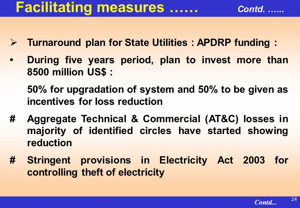 23 Distribution Reforms through Accelerated Power Development & Reform Programme (APDRP) : A strong instrument for effecting improvement & reforms in sub-transmission & distribution #APDRP has two components i.