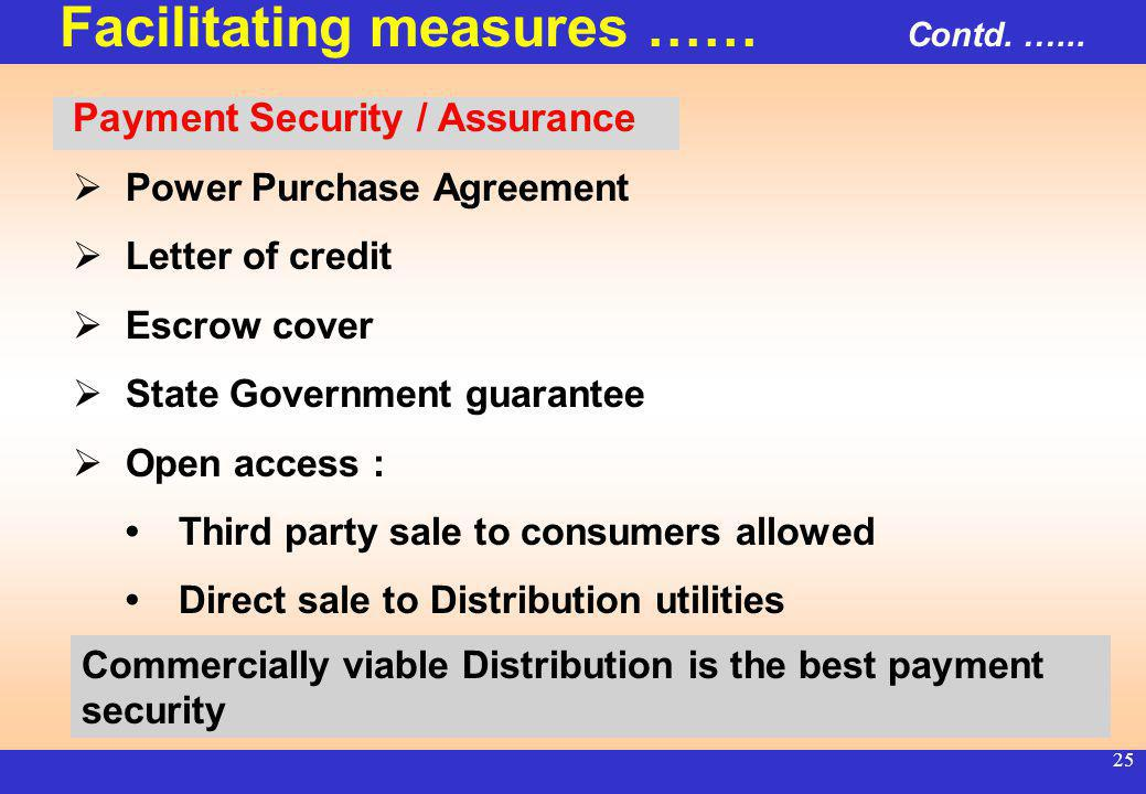 24 Turnaround plan for State Utilities : APDRP funding : During five years period, plan to invest more than 8500 million US$ : 50% for upgradation of system and 50% to be given as incentives for loss reduction #Aggregate Technical & Commercial (AT&C) losses in majority of identified circles have started showing reduction #Stringent provisions in Electricity Act 2003 for controlling theft of electricity Facilitating measures …… Contd.