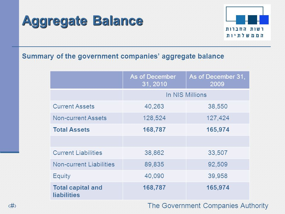 #The Government Companies Authority Breakdown of the change in net profit (in NIS millions) Agriculture Bank The remaining companies The Israel Electric Corporation Israel Natural Gas Lines RafaelIsrael Military Industries Israel Aerospace Industries Israel Posts Oil and Energy Infra-struct ures Israel Railways The Ashdod Port Company Financial Data (continued)