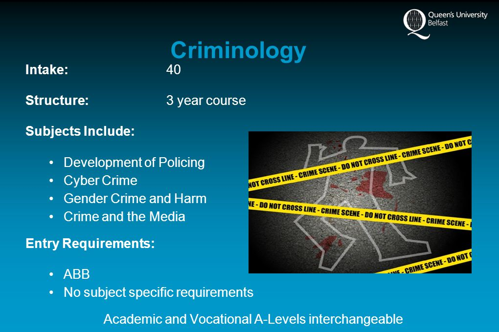 Criminology Intake:40 Structure:3 year course Subjects Include: Development of Policing Cyber Crime Gender Crime and Harm Crime and the Media Entry Requirements: ABB No subject specific requirements Academic and Vocational A-Levels interchangeable