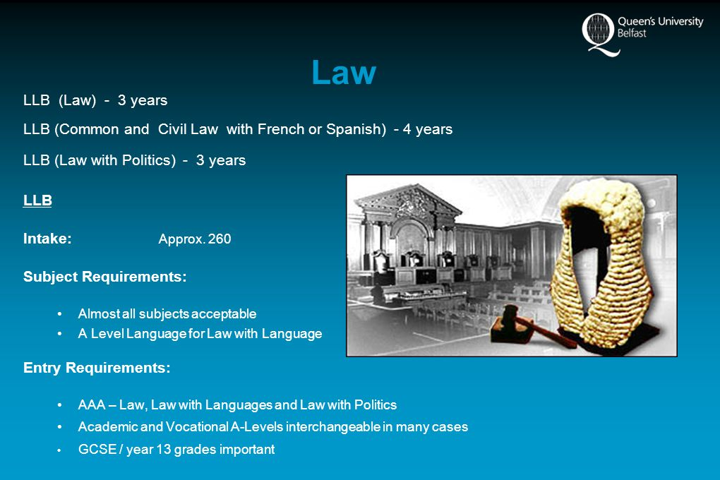 Law LLB (Law) - 3 years LLB (Common and Civil Law with French or Spanish) - 4 years LLB (Law with Politics) - 3 years LLB Intake: Approx.