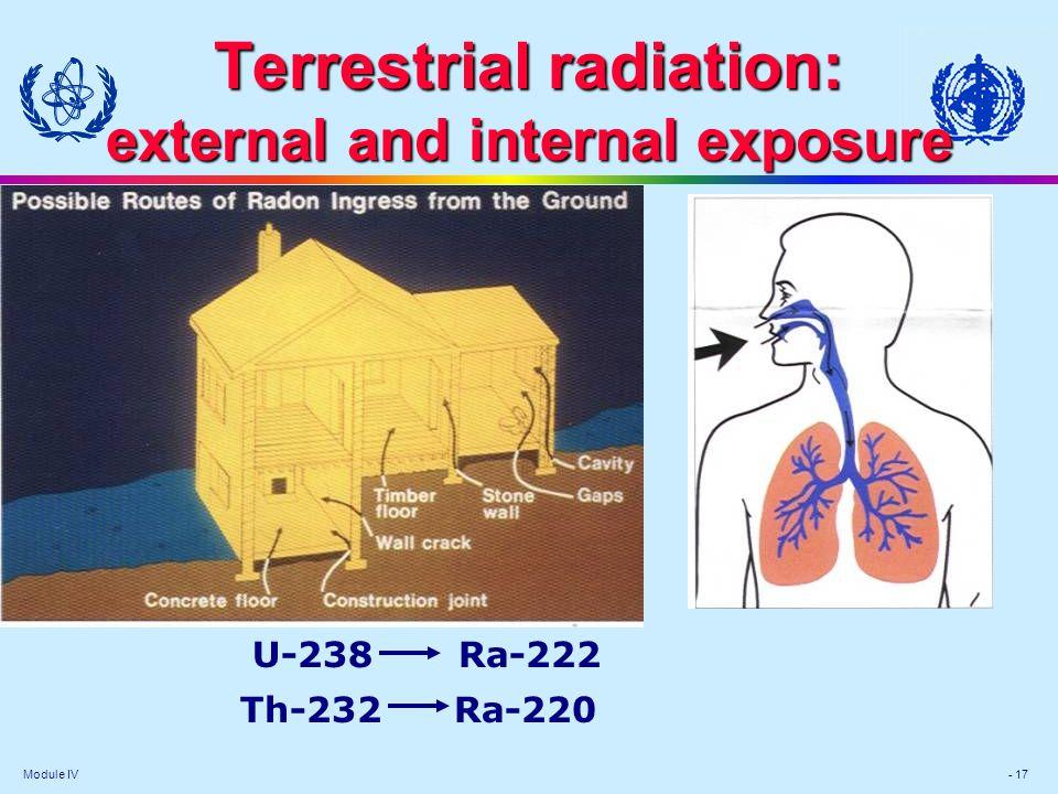 Module IV - 17 Terrestrial radiation: external and internal exposure U-238 Ra-222 Th-232 Ra-220