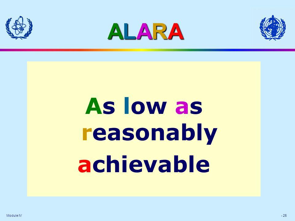 Module IV - 25 ALARAALARAALARAALARA As low as reasonably achievable