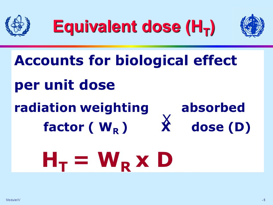 Module IV - 5 Equivalent dose (H T ) Accounts for biological effect per unit dose radiation weighting absorbed factor ( W R ) X dose (D) H T = W R x D