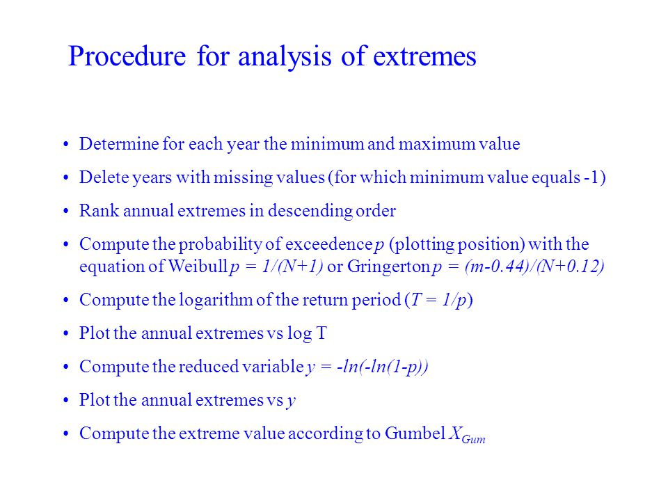Procedure for analysis of extremes Determine for each year the minimum and maximum value Delete years with missing values (for which minimum value equ