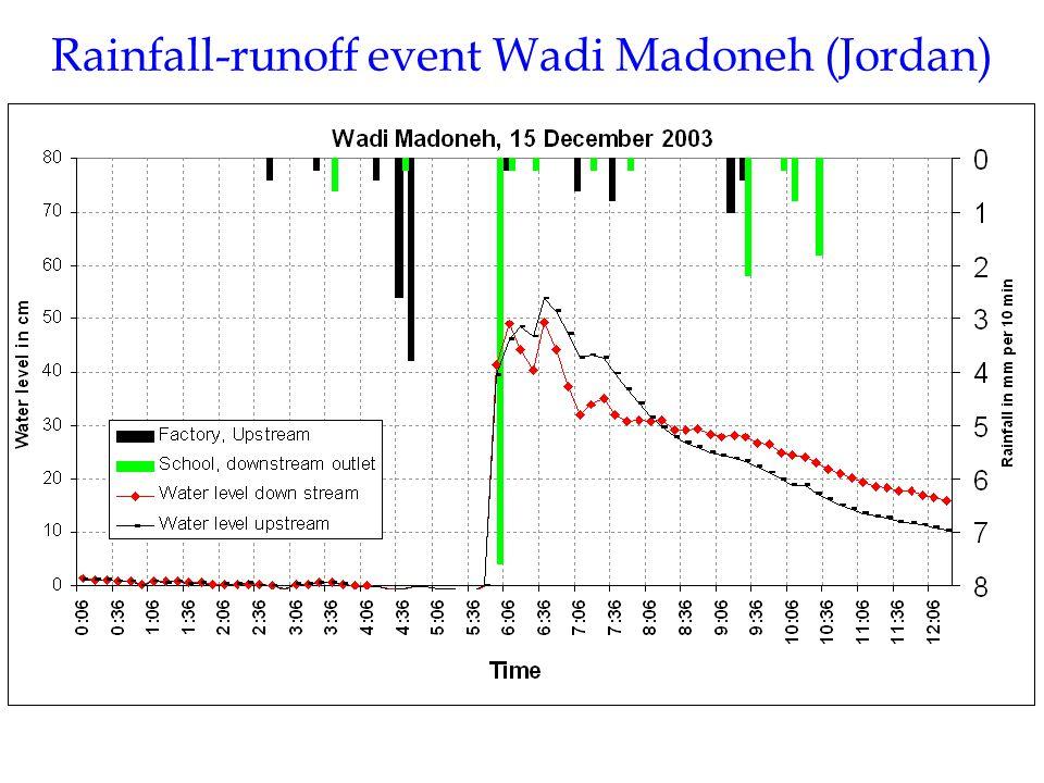 Rainfall-runoff event Wadi Madoneh (Jordan)