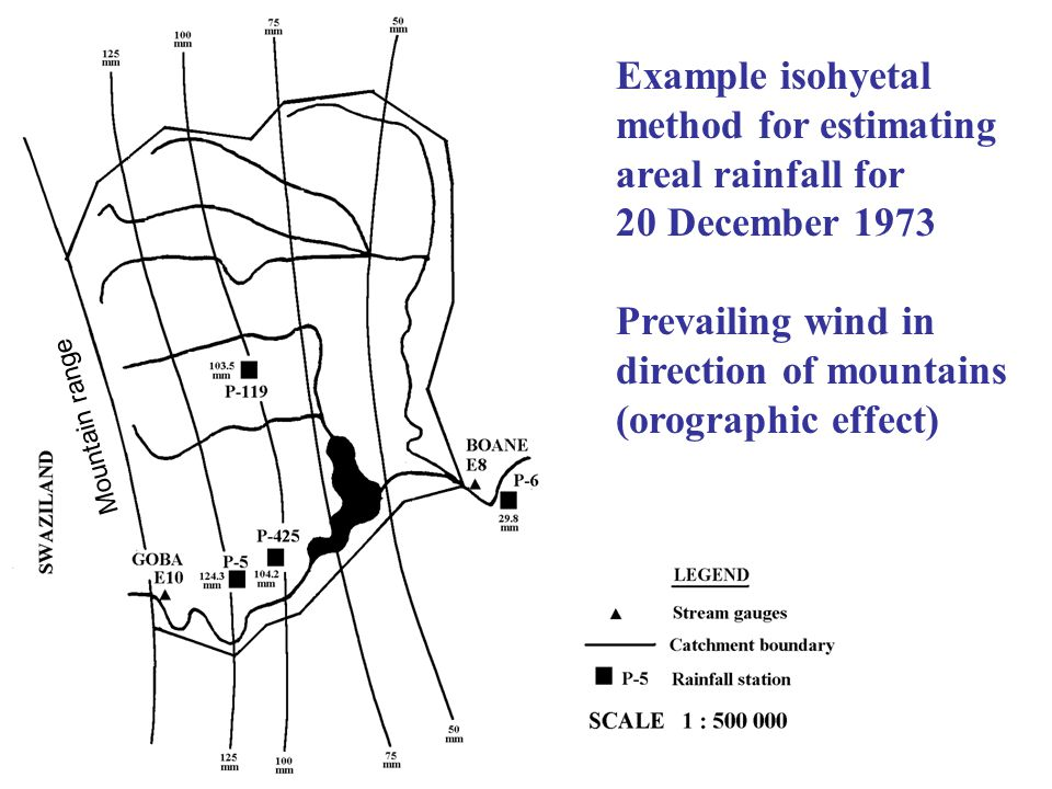 Example isohyetal method for estimating areal rainfall for 20 December 1973 Prevailing wind in direction of mountains (orographic effect) Mountain ran