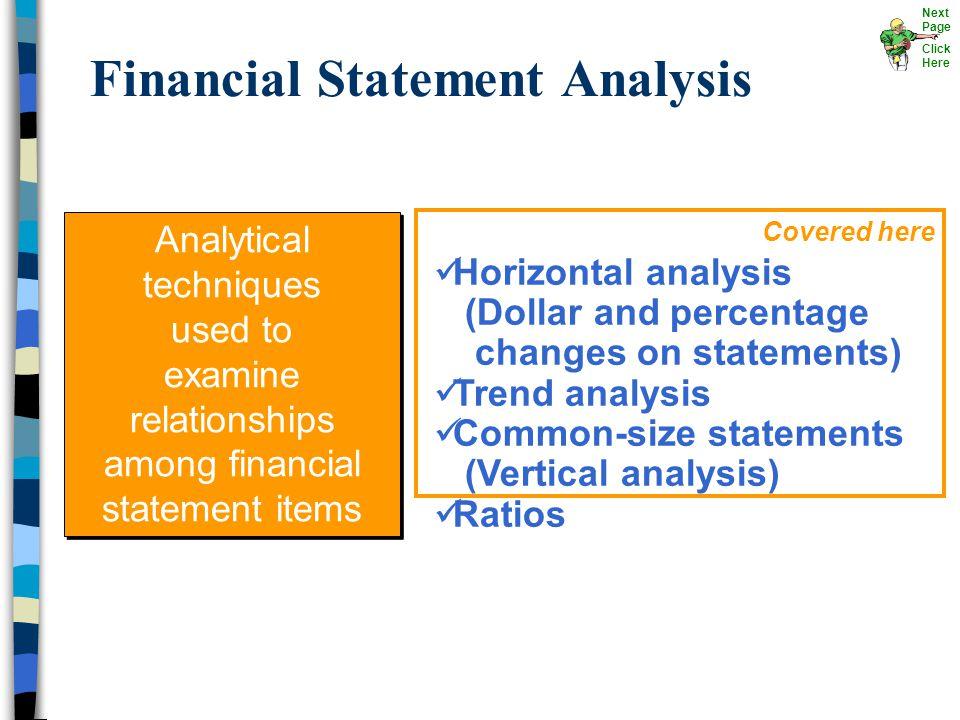 Financial Statement Analysis Horizontal analysis (Dollar and percentage changes on statements) Trend analysis Common-size statements (Vertical analysi