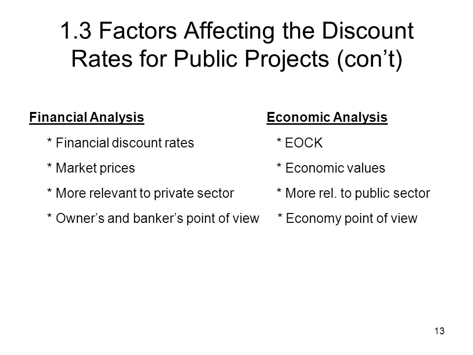 13 1.3 Factors Affecting the Discount Rates for Public Projects (cont) Financial Analysis Economic Analysis * Financial discount rates * EOCK * Market