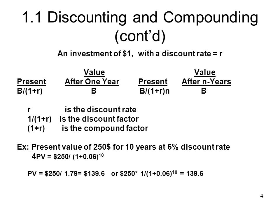 4 1.1 Discounting and Compounding (contd) An investment of $1, with a discount rate = r Value Value Present After One Year Present After n-Years B/(1+