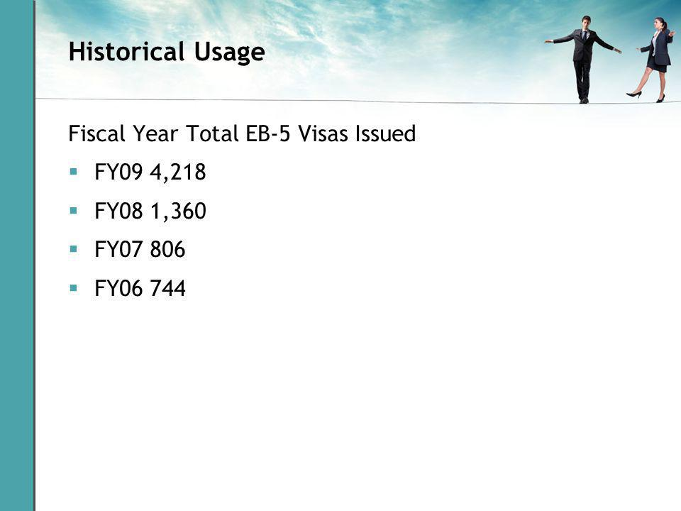 Historical Usage Fiscal Year Total EB-5 Visas Issued FY09 4,218 FY08 1,360 FY07 806 FY06 744