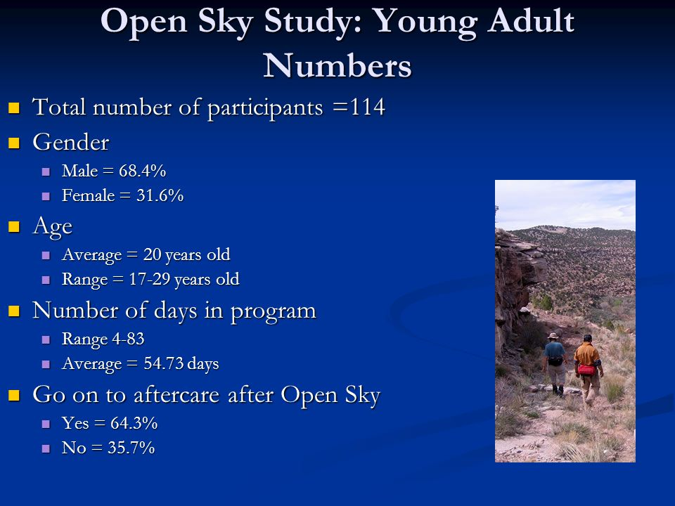 Open Sky Study: Young Adult Numbers Total number of participants =114 Total number of participants =114 Gender Gender Male = 68.4% Male = 68.4% Female = 31.6% Female = 31.6% Age Age Average = 20 years old Average = 20 years old Range = 17-29 years old Range = 17-29 years old Number of days in program Number of days in program Range 4-83 Range 4-83 Average = 54.73 days Average = 54.73 days Go on to aftercare after Open Sky Go on to aftercare after Open Sky Yes = 64.3% Yes = 64.3% No = 35.7% No = 35.7%