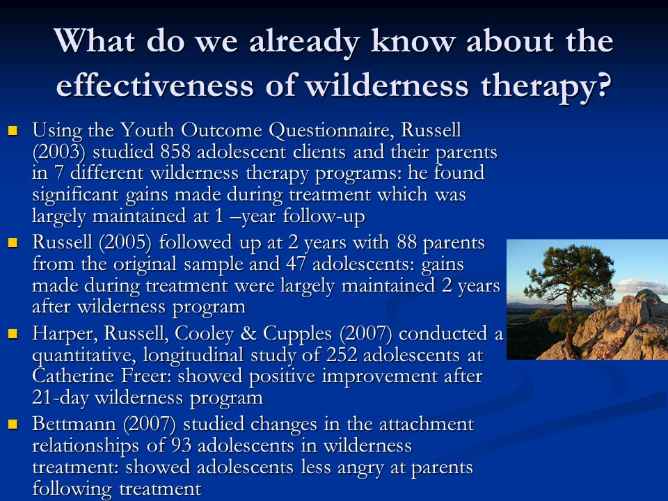 What do we already know about the effectiveness of wilderness therapy? Using the Youth Outcome Questionnaire, Russell (2003) studied 858 adolescent cl