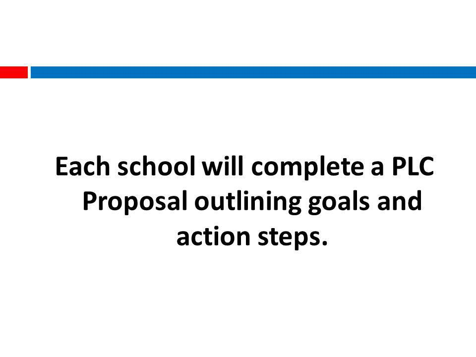 Each school will complete a PLC Proposal outlining goals and action steps.