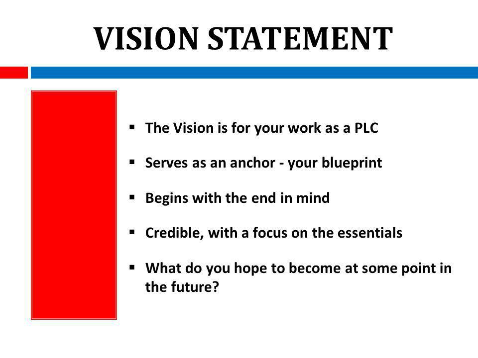 VISION STATEMENT The Vision is for your work as a PLC Serves as an anchor - your blueprint Begins with the end in mind Credible, with a focus on the essentials What do you hope to become at some point in the future