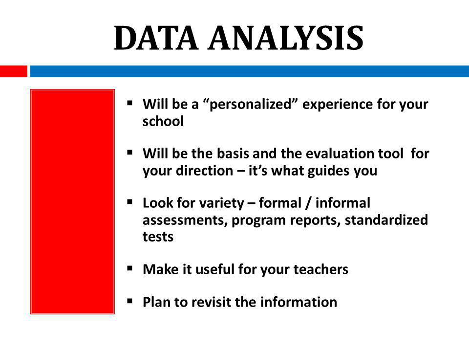 DATA ANALYSIS Will be a personalized experience for your school Will be the basis and the evaluation tool for your direction – its what guides you Look for variety – formal / informal assessments, program reports, standardized tests Make it useful for your teachers Plan to revisit the information